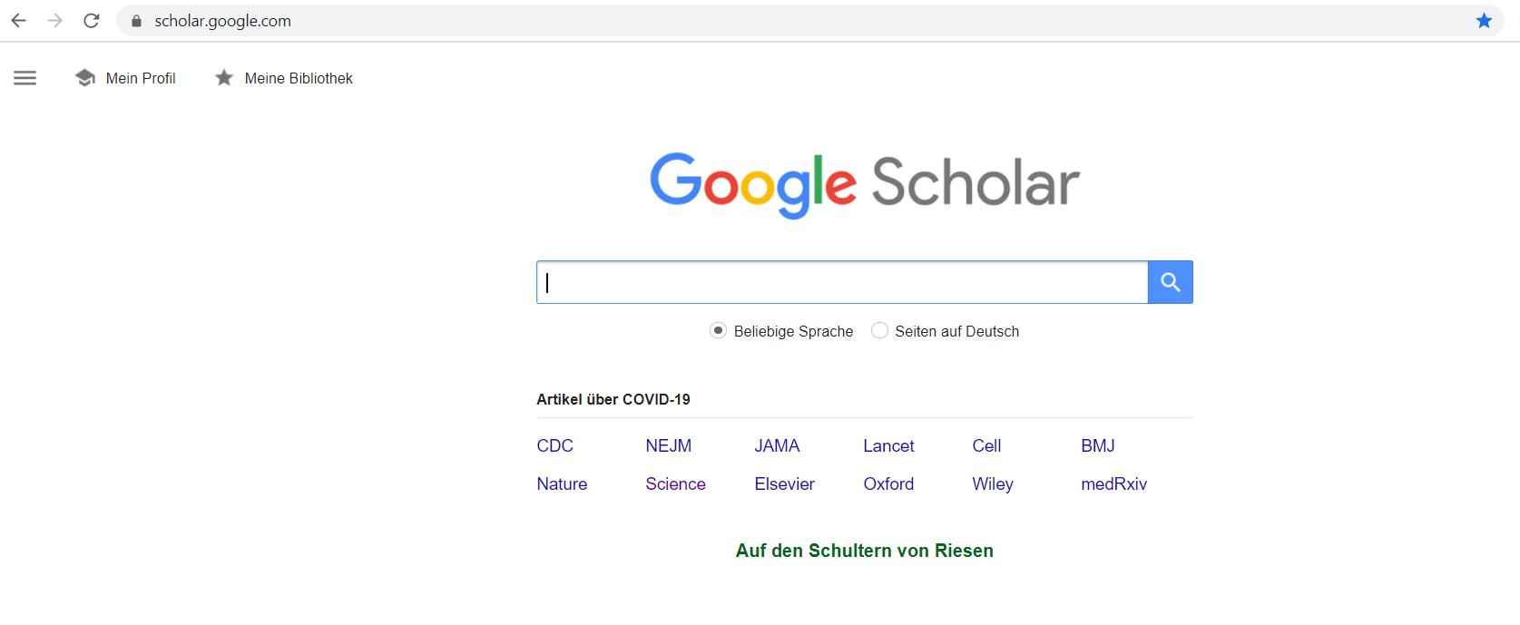 Google Schoolar Studien Recherche