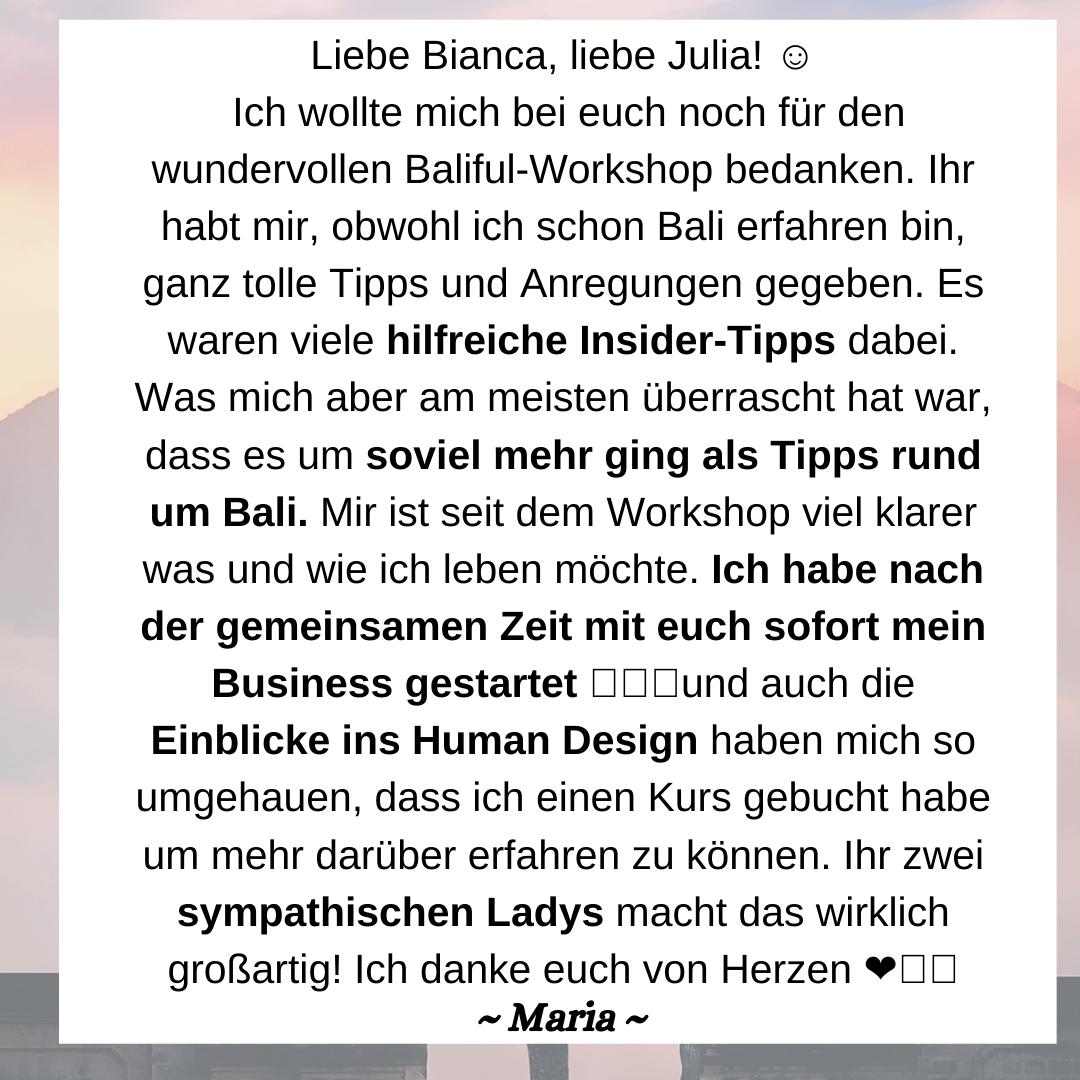 Empfehlung von Maria für BaliFul