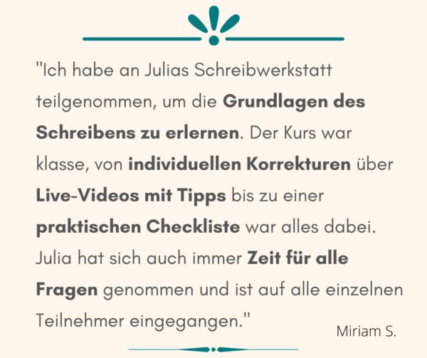 Schreibwerkstatt Empfehlung Miriam